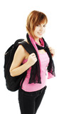 Teenager Girl with Backpack Ower White Background