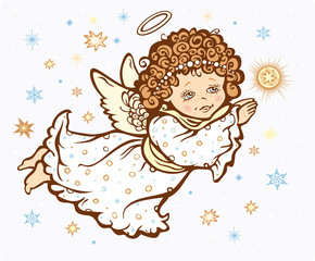 Angel with a star - isolated vector illustration