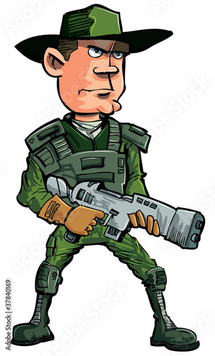 Foto op Plexiglas Militair Cartoon soldier with a automatic rifle