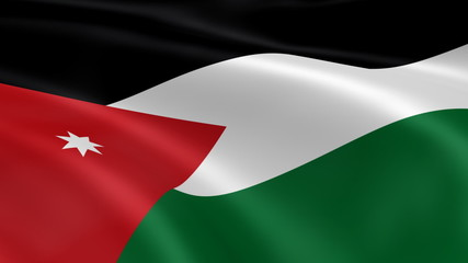 Jordanian flag in the wind. Part of a series.