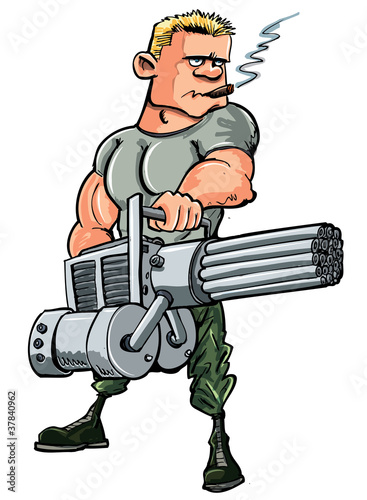 Aluminium Militair Cartoon soldier with a mini gun
