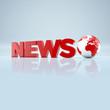 """""""News""""-Schriftzug mit Weltkugel"""
