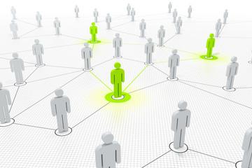 verbundene Schlüsselfiguren in einem Netzwerk grün