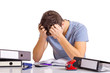 Leinwanddruck Bild - Schüler mit burnout