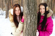 Girls by tree