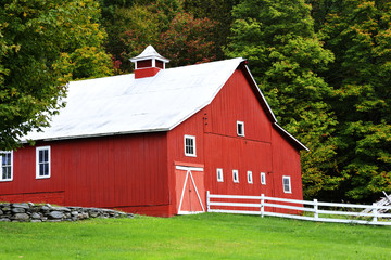 The Red Barn in the Countryside
