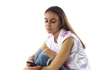 Young woman uses phone to communicate