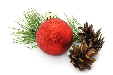 Christmas ball with pinecone and fir branch