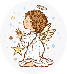 Angel with a star - vector illustration