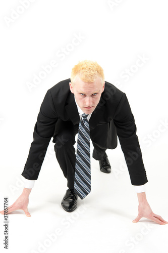 young businessman ready to running
