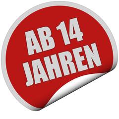 Sticker rot rund curl unten AB 14 JAHREN
