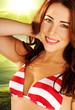 Beautiful Woman In Striped Bikini