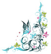Ranke, flora, Blumen, Blüten, filigran, mint, türkis