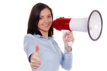 erfolgreiche auszubildende mit megafon
