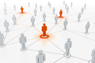 verbundene Schlüsselfiguren in einem Netzwerk orange