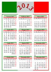 Calendario 2013 italiano (vettoriale)