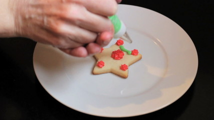 Putting Finishing Touches On Christmas Cookie