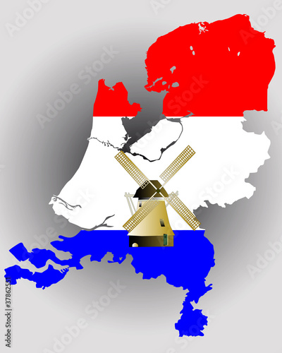 Map of Holland in the colors of the flag