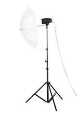 Studio flashlight with umbrella | Isolated