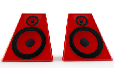 Big red speakers