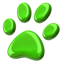 3d illustration of green paw