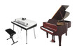electronic synthesizer and piano