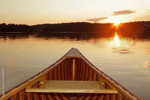 Bow of Cedar Canoe on a Canadian Lake at Sunset - 37866541