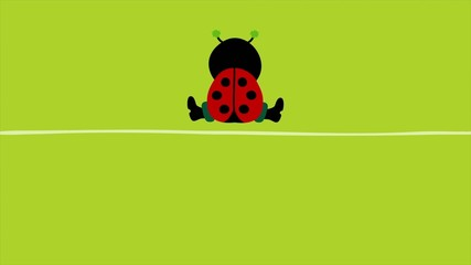 "Sitting Ladybug ""Happy Birthday"" Green"
