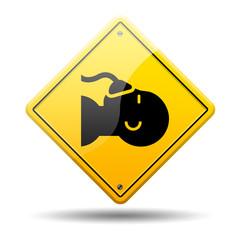 Señal amarilla simbolo anestesia
