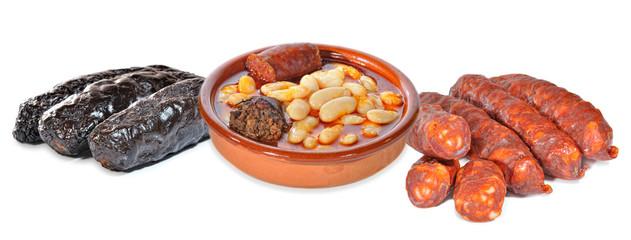 Fabada asturiana,chorizos y morcillas.