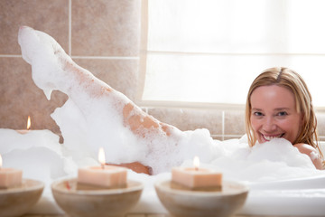 Woman enjoying spa rituals