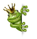 Fototapety Frog Prince with Gold Crown Holding a Vertical Blank Sign