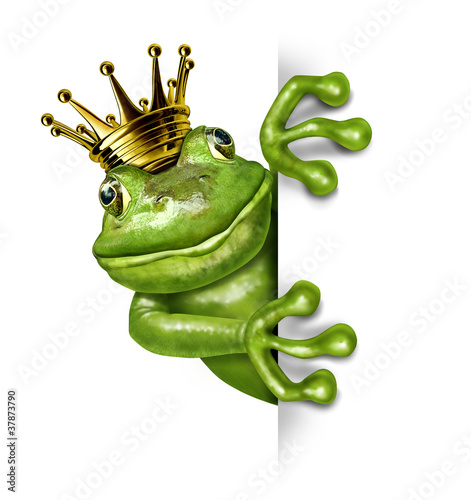 Leinwandbild Motiv Frog Prince with Gold Crown Holding a Vertical Blank Sign