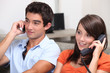 portrait of young people on the phone