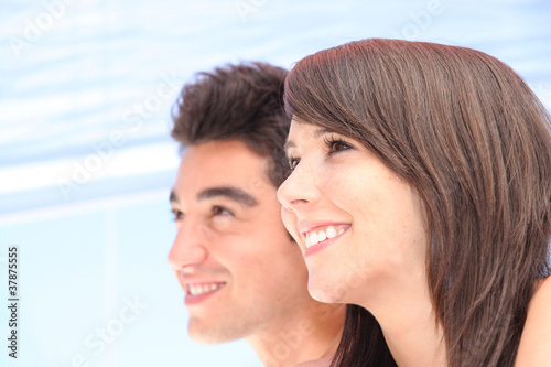 Closeup of a young couple's faces