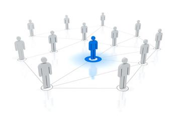 blaue Schlüsselfigur im Netzwerk