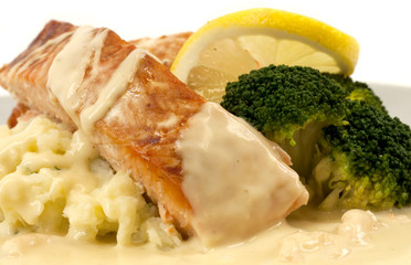 Salmon with mashed potatoes and cream shrimp sauce
