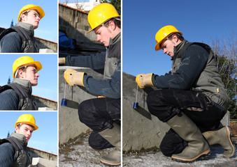a workman working with a plumb