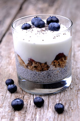 Chia breakfast with yogourt and blueberries