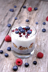 Healthy Chia breakfast with berries