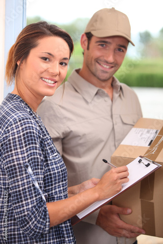 Courier with a signed-for delivery
