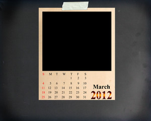 Calendar 2012 March, Blank Photo on Blackboard Background