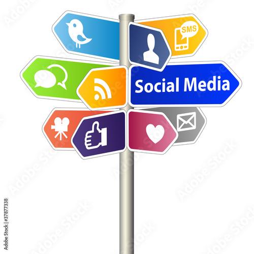Zdjęcia na płótnie, fototapety, obrazy : Social Media Sign