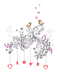 Love birds and a beautiful floral ornament