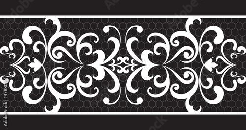 Plexiglas Kunstmatig Seamless lace floral pattern isolated on black
