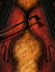 Zwei Geigen auf Notenblättern