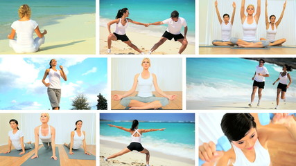 Montage Images of Exercise & Yoga
