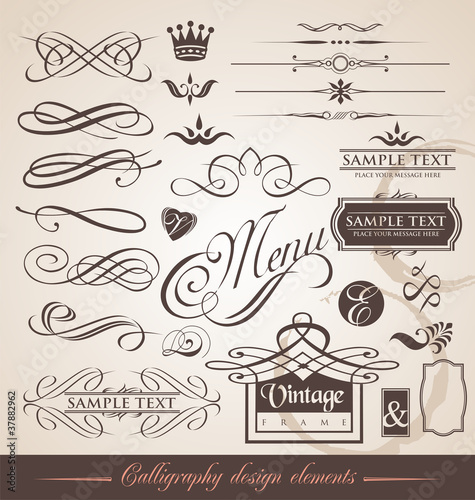 Set of calligraphic elements and page decorations