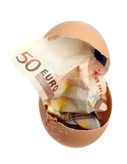 bank note of 50 euro in eggshell