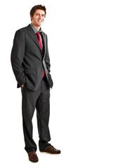 Confident full length businessman isolated on white